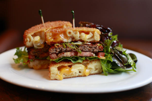 Rockit Burger Bar's burger special featuring a bun made out of mac 'n' cheese