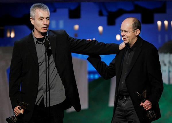 "The winners for Best Documentary film ""The Interrupters"" director/ producer Steve James and producer Alex Kotlowitz accept their awards at the 2012 Film Independent Spirit Awards in Santa Monica. James, Kotlowitz and Zak Piper won an Emmy for their film on Tuesday night."
