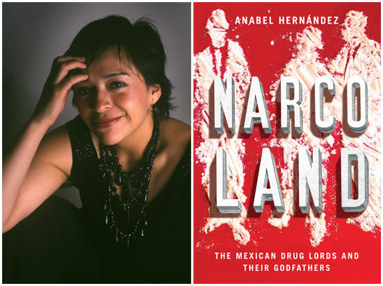 "Author Anabel Hernández and the cover of her book, ""Narcoland."""
