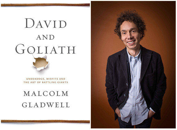 "The cover of ""David and Goliath"" and author Malcolm Gladwell."