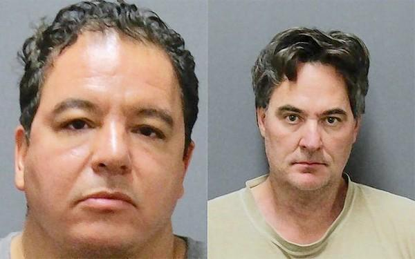 Laguna Beach residents Vincent Lopreto, 48, left, and Ronald Bell, 49, were arrested on suspicion of first-degree identity theft and operating a scheme to defraud for allegedly selling fake artwork from English-born artist Damien Hirst, Laguna Beach police said in a news release.