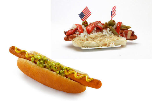 Chris Erskine's power hitter Dodger Dog, top right, compared with the typical Dodger Dog. Click to the next image to learn how to make the souped-up Dodger Dog.