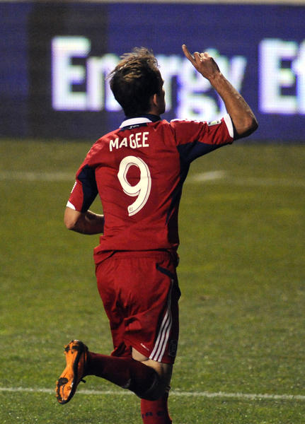 The Fire's Mike Magee celebrates his goal against Montreal in the second half.