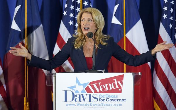 Wendy Davis announces her intentions to run for Texas governor at the W.G. Thomas Coliseum in Haltom City, Texas.