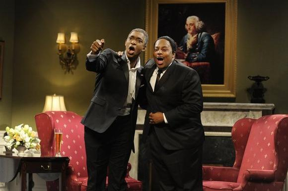 "Jay Pharoah (left, in a January 2013 sketch) and Kenan Thompson are the only black performers on NBC's ""Saturday Night Live."""