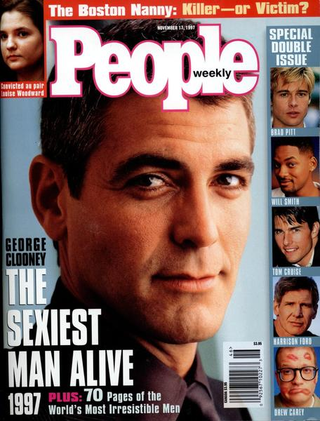 "People magazine bestowed the title of ""sexiest man alive"" upon George Clooney in 1997. Clooney won the title once more in 2006. He also scored the cover of Vogue in June 2000,  the second man to land the cover after Richard Gere in November 1992."