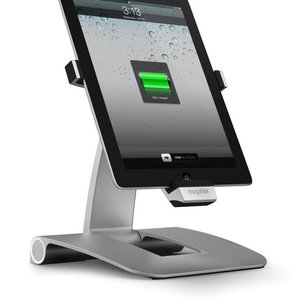 This stand for the iPad has a built-in charging port.