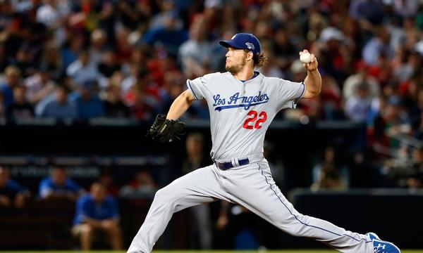 Dodgers starter Clayton Kershaw delivers a pitch against the Atlanta Braves in Game 1 of the National League division series on Thursday.