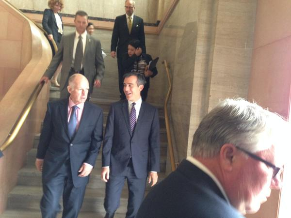 Los Angeles Mayor Eric Garcetti speaks with Gov. Jerry Brown Thursday at City Hall.