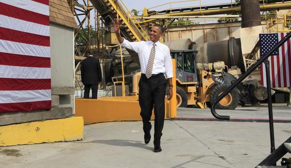 President Obama visits M. Luis Construction in Rockville, Md., on Thursday.