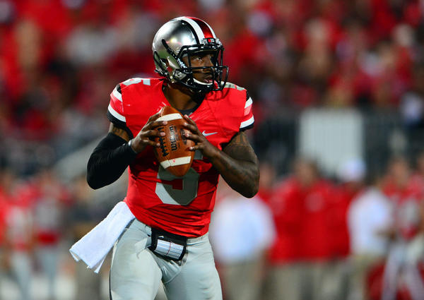 Buckeyes quarterback Braxton Miller looks to pass during the fourth quarter against Wisconsin.