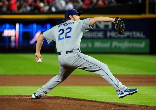 Clayton Kershaw pitches against the Braves during Game 1.