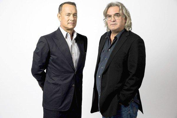 Actor Tom Hanks, left, and director Paul Greengrass on the Sony Pictures lot.