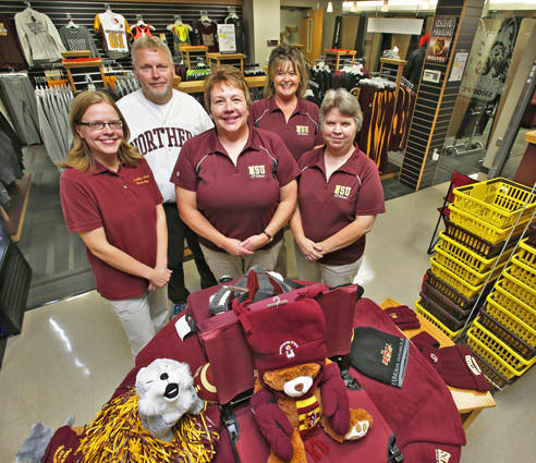 The staff at the NSU Wolf Shoppe, located in the lower level of the Student Center at Northern State University, are, from the left in front: Lindsey Heidenreich, Beth Rasmusson, director, and Julie Nikolas. In the back are Alan Kinder, left, and Carol Schumacher, right.