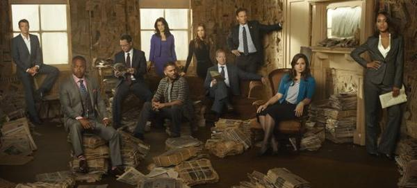 Scott Foley (from left), Columbus Short, Joshua Malina, Bellamy Young, Guillermo Diaz, Darby Stanchfield, Jeff Perry, Tony Goldwyn, Katie Lowes and Kerry Washington.