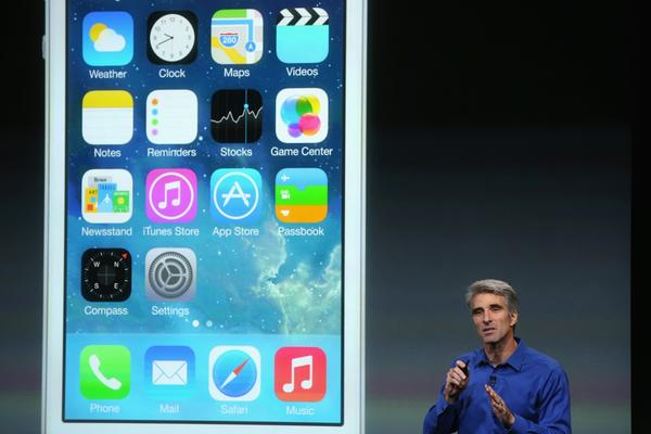 The new iOS 7 has been popular, but has also generated some complaints. Above, Apple Senior Vice President of Software Engineering Craig Federighi speaks about iOS 7 during an Apple product announcement last month.