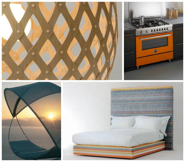 Exhibitors at the show will include, clockwise from top left: David Trubridge, whose studio will be showing the new Koura light; a pop of orange from Bertazzoni; Savoir Beds; Royal Botania.