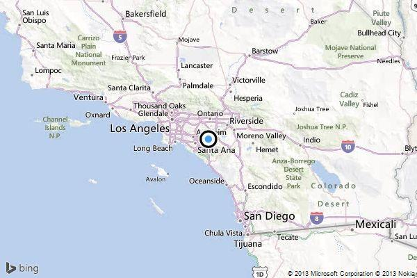 A map showing the location of the epicenter of Friday morning's quake near Corona, California.