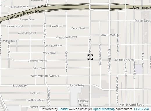 A map show the location where two women were struck by a compact car Thursday night in Glendale.