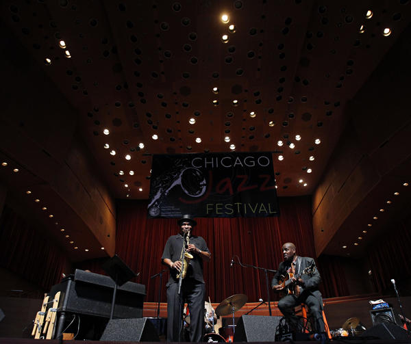 Bobby Watson (center) and Bobby Broom play with the Deep Blue Organ Trio at the Chicago Jazz Festivalin 2011.