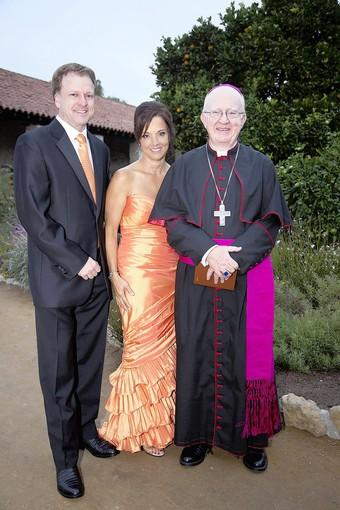 Joe Adams and Mechelle Lawrence Adams (Mission San Juan Capistrano executive director) with Bishop Kevin Vann.
