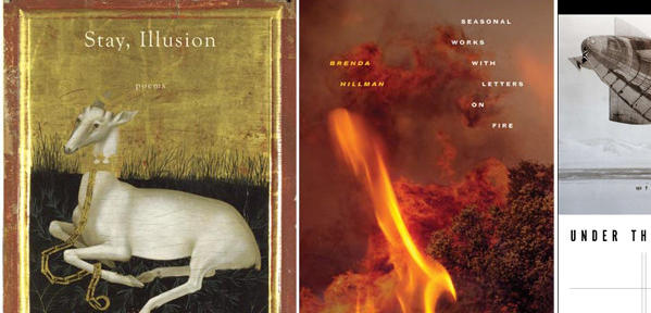 "The covers of ""Stay, Illusion,"" ""Seasonal Works with Letters on Fire,"" and ""Under the Sign."""
