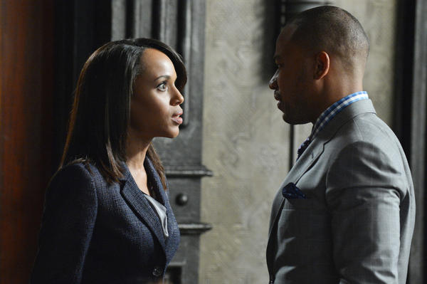 "Kerry Washington and Columbus Short in ""Scandal."""