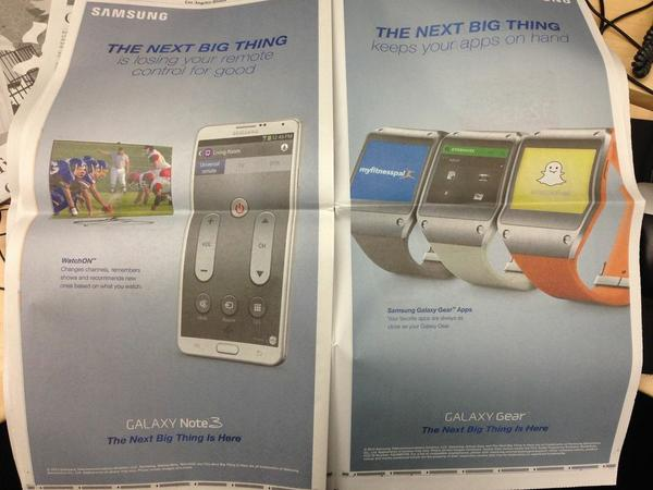 A few of the ads run by Samsung Friday. The South Korean giant took out 10 full-page ads in the Los Angeles Times, New York Times and Wall Street Journal for its new Galaxy Gear smartwatch.