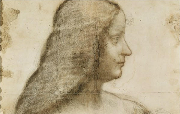 Leonardo da Vinici's sketch of Isabella d'Este, which is at the Louvre Museum in Paris. Experts believe a painting based on the sketch has been discovered in a Swiss bank vault.