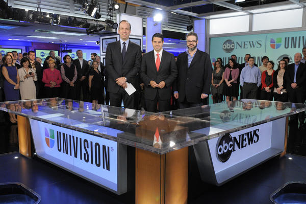 ABC News President Ben Sherwood, from left, Univision Networks President Cesar Conde and Univision News President Isaac Lee in 2012.