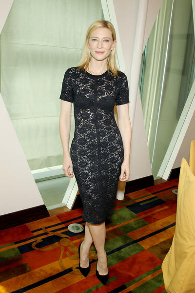 "Cate Blanchett wears a Raquel Allegra design to a luncheon for the film ""Blue Jasmine."""