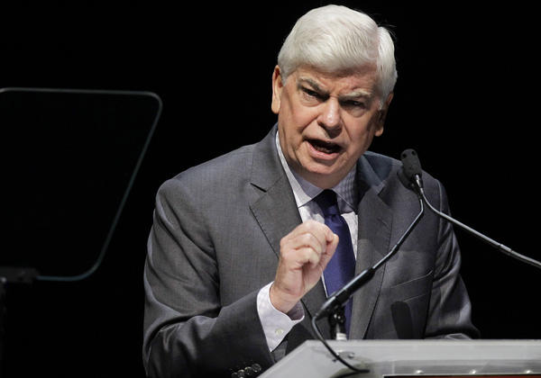 Motion Picture of Assn. of America chairman Chris Dodd speaks during his CinemaCon State of the Industry address in Las Vegas. On Friday he spoke at a meeting of the Valley Industry and Commerce Assn.