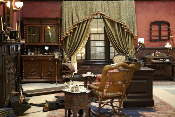 A re-creation of Sherlock Holmes' and Dr. Watson's sitting room at 221B Baker Street in London is part of the Holmes exhibition.
