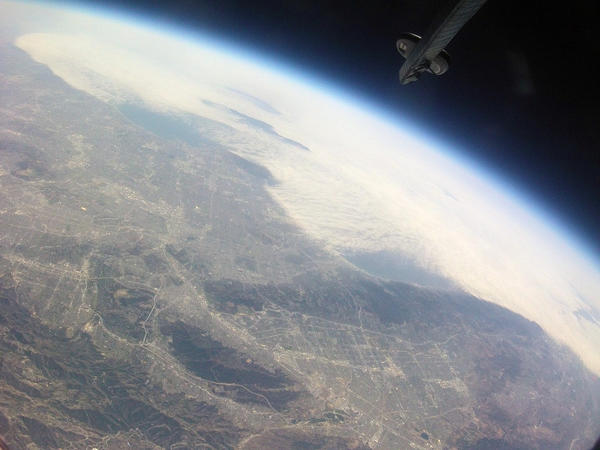 A high altitude ballon launched by Clark Magnet High School students takes photos and video from near space on Sunday, April 28, 2013.