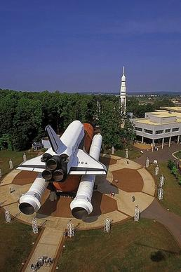 Pathfinder, a Space Shuttle test simulator made of steel and wood, and a Saturn 1B rocket are on display at the U.S. Space & Rocket Center in Huntsville, Ala.