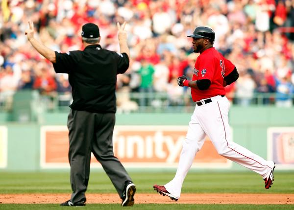 David Ortiz strolls into second with his gift ground-rule double.
