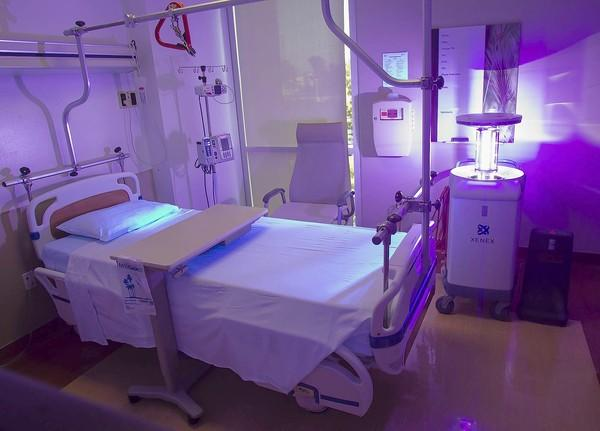 Hoag Hospital Irvine demonstrates a Xenex, which is a pulsed xenon, ultraviolet disinfection unit that kills viruses, bacterias and spores.