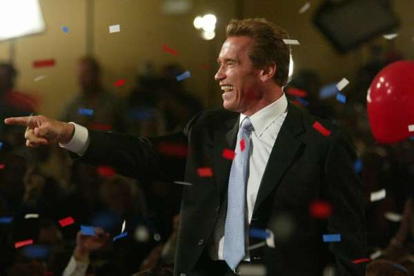 Arnold Schwarzenegger celebrates his election as California governor on Oct. 7, 2003.