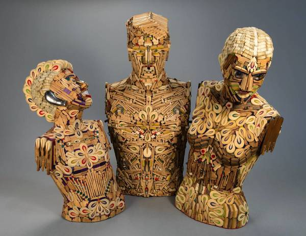 """Allen Christian created """"Piano Family: Adagio, Amorosa, Bucky,"""" in 2012 from spare piano parts. It appears at the American Visionary Art Museum as part of """"Human, Soul & Machine: The Coming Singularity!"""" through Aug. 31."""