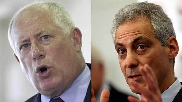 Illinois Gov. Pat Quinn and Chicago Mayor Rahm Emanuel (from left)