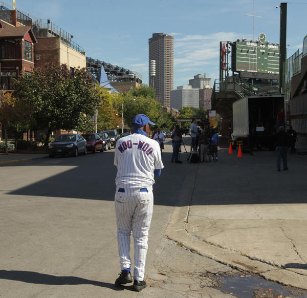 Ronnie Woo Woo hangs out on Waveland Ave. after the Cubs fired manager Dale Sveum.