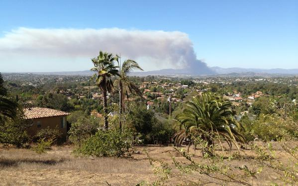 Smoke rises from a fire at Camp Pendleton in San Diego County.