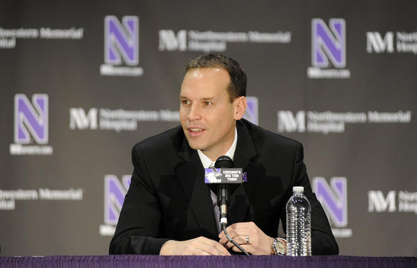 New Northwestern coach Chris Collins speaks during a press conference.
