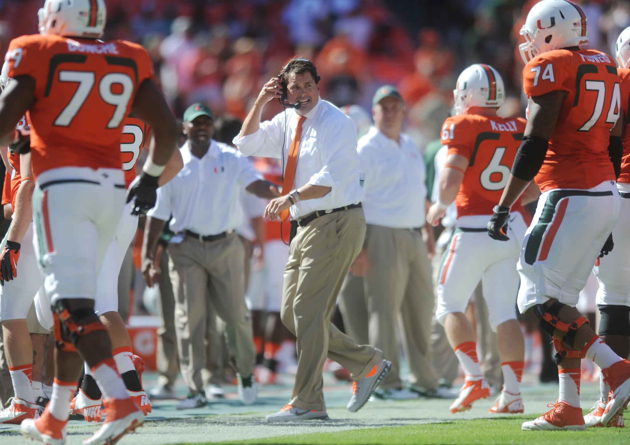 University of Miami head coach Al Golden keeps his team focused against Georgia Tech. Georgia Tech at University of Miami, Sun Life Stadium, Miami Gardens, FL. 10/5/13. Jim Rassol, Sun Sentinel...