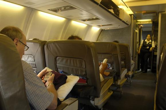 First-class section of an American Airlines jetliner