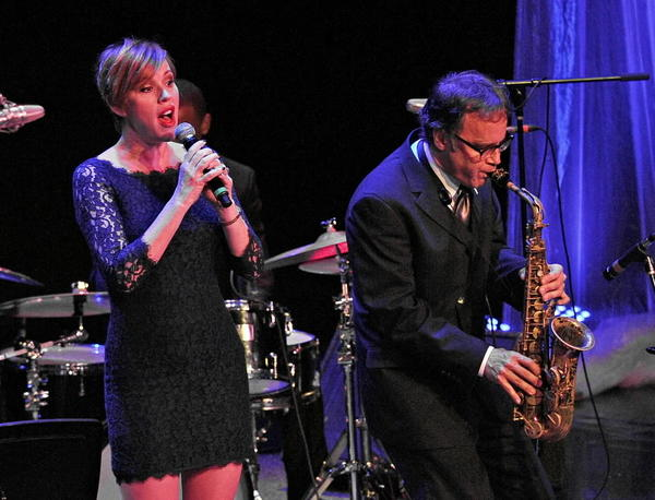 Molly Ringwald sings jazz with saxophonist Allen Mezquida at the Arcada Theatre in St. Charles Saturday.