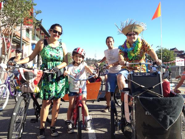 The Lutz family participates in the eighth edition of CicLAvia.