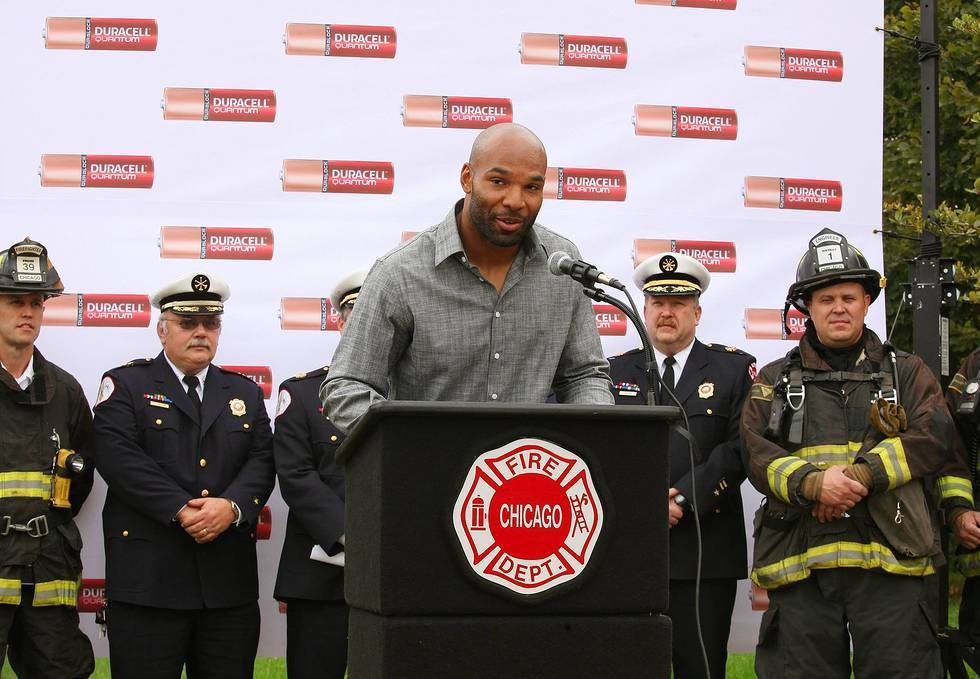 The Bears' Matt Forte joins Duracell Oct. 1, 2013 to donate Quantum batteries to the Chicago Fire Department at McCormick Place.