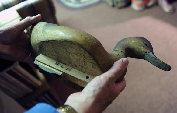 Pictured is a decoy that once belonged to Glenn L. Martin.