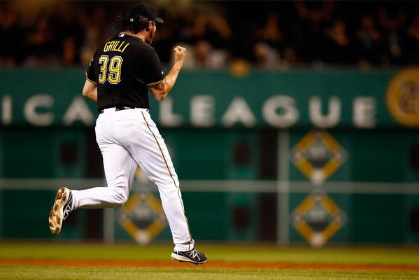 Pirates closer Jason Grilli celebrates after defeating the Cardinals in Game 3.
